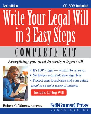 Write Your Legal Will in 3 Easy Steps By Waters, Robert C.